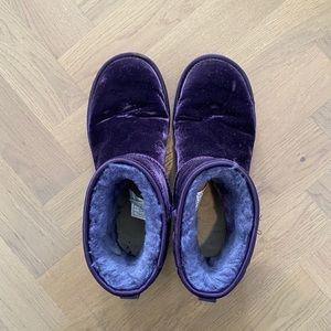 UGG Purple Velvet Boots -classic mini velvet